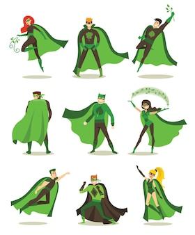 Ilustração vetorial em design plano de super-heróis ecológicos femininos e masculinos em fantasia de quadrinhos engraçados