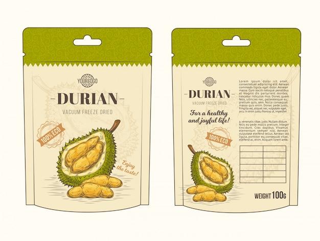 Ilustração vetorial em embalagem de design para fruta durian, modelo, moc up