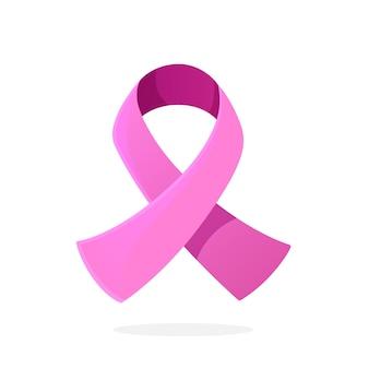 Ilustração vetorial em estilo cartoon símbolo internacional de fita rosa de conscientização do câncer de mama
