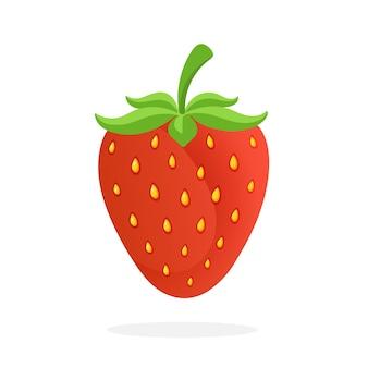Ilustração vetorial em estilo simples morango doce com haste comida vegetariana saudável