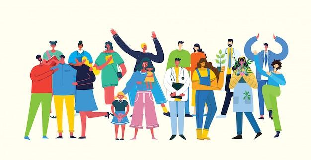Ilustração vetorial em um estilo simples de grupo de diferentes atividades de pessoas