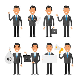 Ilustração vetorial, empresário em gravata azul em diferentes poses, formato eps 10