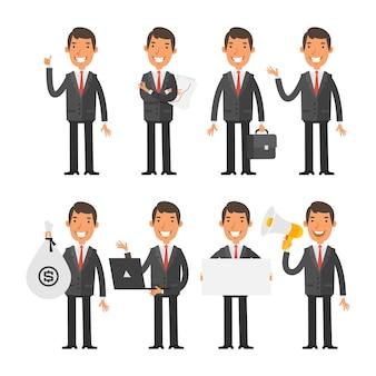 Ilustração vetorial, empresário em gravata vermelha em diferentes poses, formato eps 10