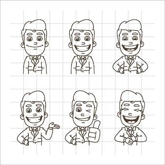 Ilustração vetorial empresário segurando sorrindo, rindo, mostrando os polegares para cima, indicando