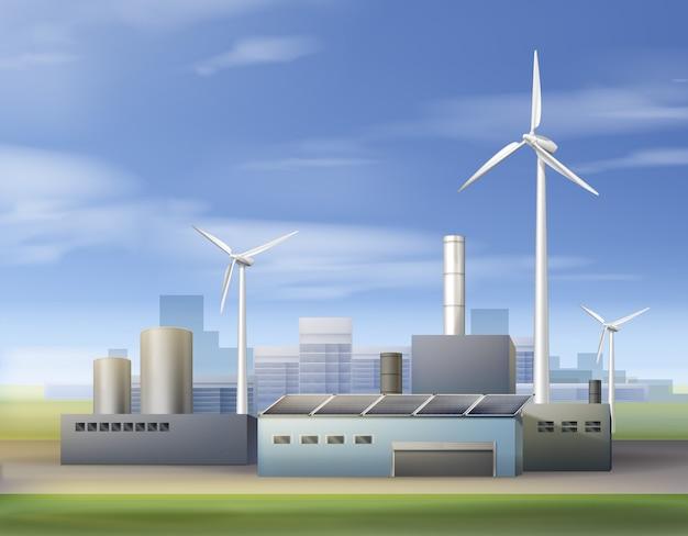 Ilustração vetorial energia renovável e biocombustível com uso de turbinas eólicas e painéis solares na área industrial