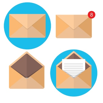 Ilustração vetorial. envelope liso. e-mail e comunicação global. carta. rede social.