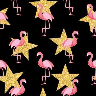 Ilustração vetorial eps10 com padrão bonito retrô sem costura flamingo.