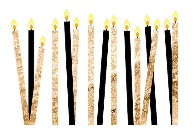Ilustração vetorial eps10 com velas brilhantes para feliz aniversário