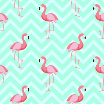 Ilustração vetorial eps10 de fundo fofo retrô sem costura flamingo padrão