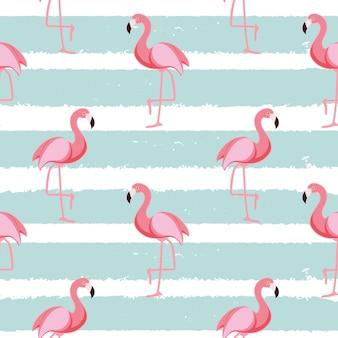 Ilustração vetorial eps10 de padrão fofo sem costura flamingo