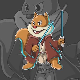 Ilustração vetorial esquilo com duas espadas