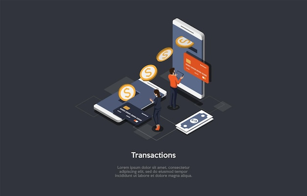 Ilustração vetorial. estilo dos desenhos animados 3d. composição isométrica. design conceptual. transações financeiras. processo de câmbio, procedimento eletrônico. inovação na internet. benefícios de pagamento modernos fáceis