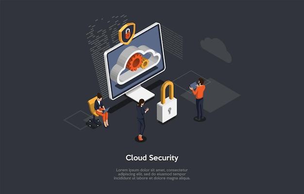 Ilustração vetorial, estilo dos desenhos animados 3d. composição isométrica no fundo escuro. segurança em nuvem, sistema de proteção de privacidade de dados pessoais ou projeto conceitual de serviço. computador, personagens, infográfico