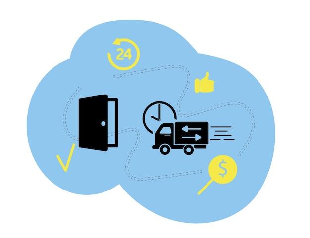 Ilustração vetorial, estilo simples, várias lojas, descontos, compras online, o conceito de compras e entrega de mercadorias através do formulário online. entrega 24 horas de mercadorias na porta.