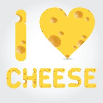 Ilustração vetorial eu amo queijo em fundo claro
