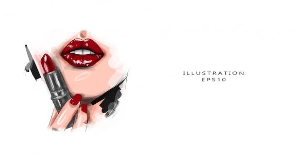 Ilustração vetorial extremamente perto do modelo, aplicando batom vermelho escuro. maquiagem. maquiagem retrô na moda profissional. batom vermelho escuro. lábios de vinho