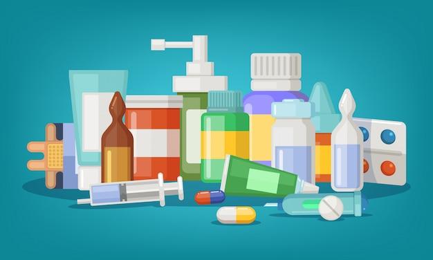 Ilustração vetorial farmacêutica de frascos e comprimidos médicos