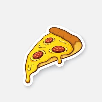 Ilustração vetorial fatia de pizza com queijo derretido e calabresa adesivo de desenho animado