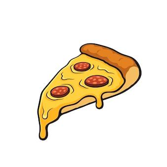 Ilustração vetorial fatia de pizza com queijo derretido e calabresa imagem com contorno