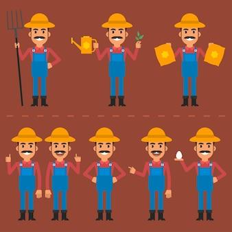 Ilustração vetorial, fazendeiro em várias poses, formato eps 10.