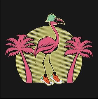 Ilustração vetorial flamingo rosa isolado em fundo preto