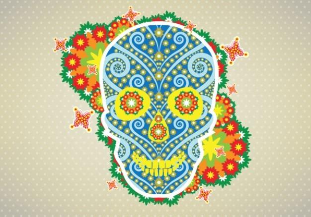 Ilustração vetorial flor crânio