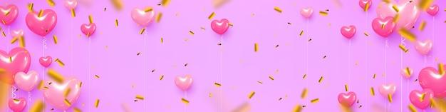 Ilustração vetorial, fundo festivo com confetes e balões.