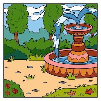 Ilustração vetorial, fundo natural. jardim da princesa com fonte
