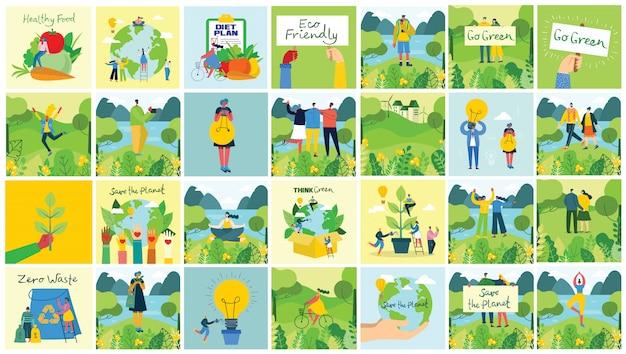 Ilustração vetorial fundos eco do conceito de energia ecológica verde e citação salve o planeta, pense verde e reciclar resíduos