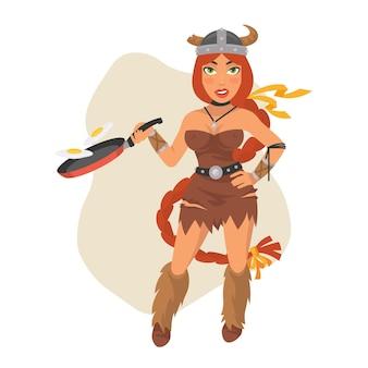 Ilustração vetorial, garota viking segurando uma frigideira, formato eps 10