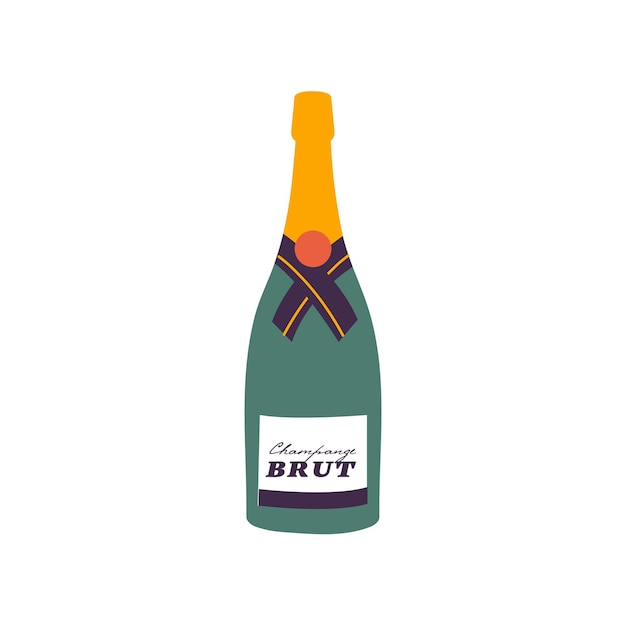 Ilustração vetorial - garrafa de vinho espumante isolada no fundo branco