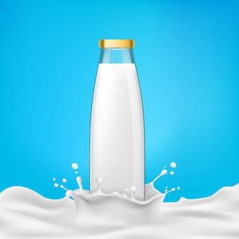Ilustração vetorial garrafas de vidro com leite ou produtos lácteos em um respingo de leite