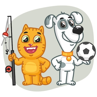 Ilustração vetorial, gato segurando um grande cachorro-peixe segurando uma bola de futebol, formato eps 10