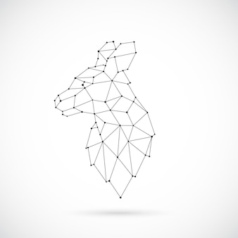 Ilustração vetorial geométrica canguru