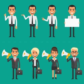 Ilustração vetorial, gerente e empresários segurando megafone, formato eps 10.