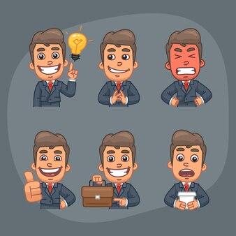 Ilustração vetorial homem de negócios segurando astúcia mal segurando a mala e mostrando os polegares para cima