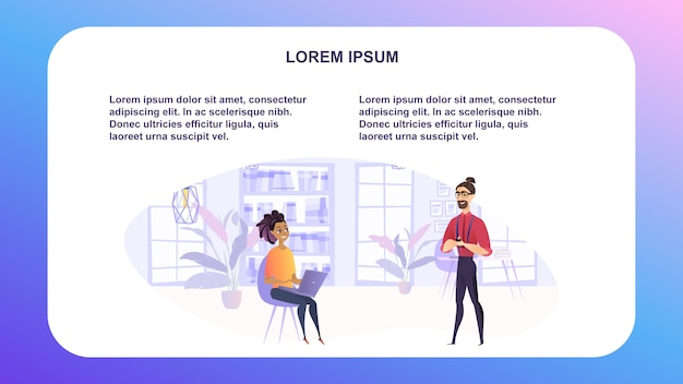 Ilustração vetorial homem e mulher no ambiente de trabalho