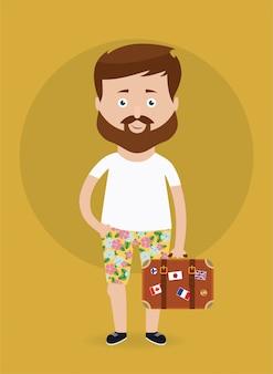 Ilustração vetorial homem viajante com mala.