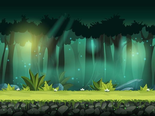 Ilustração vetorial horizontal perfeita de floresta em uma névoa mágica