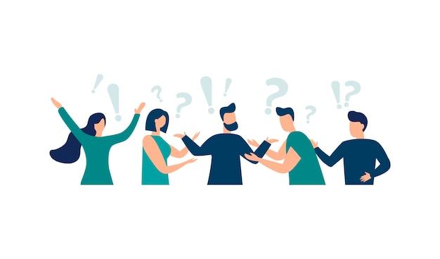 Ilustração vetorial ilustração conceitual de perguntas frequentes, pontos de exclamação