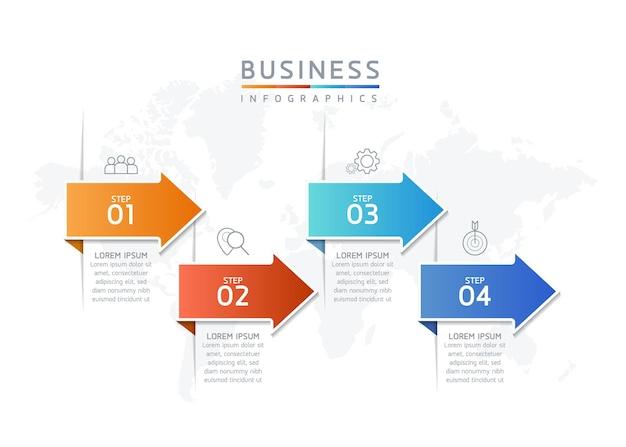 Ilustração vetorial infográfico design modelo apresentação 4 opções ou etapas