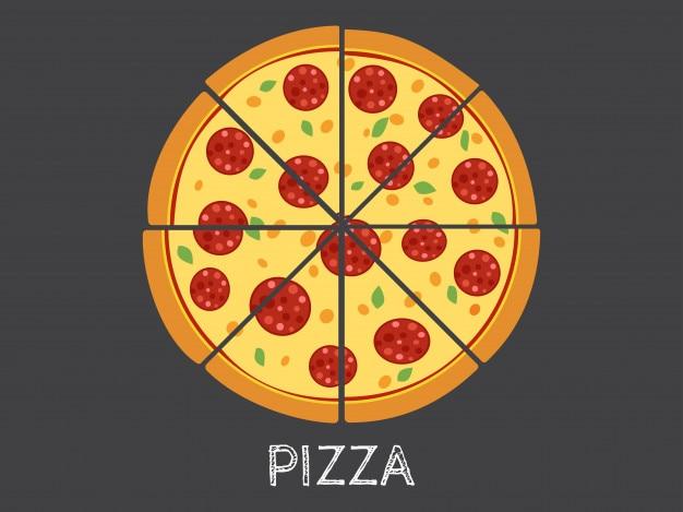 Ilustração vetorial inteira e fatia pizza