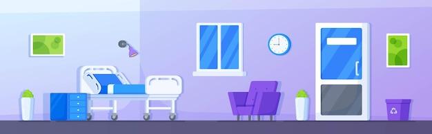 Ilustração vetorial interior da sala de hospital terapia intensiva faixa de enfermaria do paciente