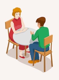 Ilustração vetorial isométrica das pessoas. jovem feliz em um encontro com seu namorado