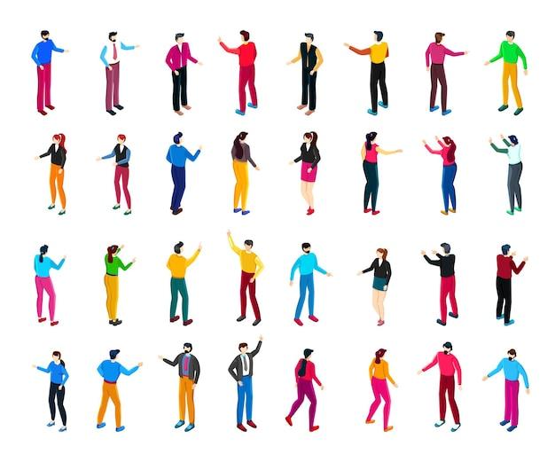 Ilustração vetorial isométrica de sociedade profissional com pessoas de diferentes ocupações e empregos.