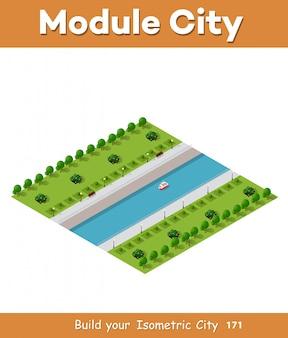 Ilustração vetorial isométrica de uma cidade moderna