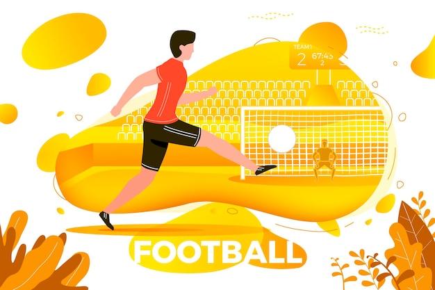 Ilustração vetorial - jogador de futebol. goleiro e estádio com placar em segundo plano. banner, site, modelo de cartaz com lugar para o seu texto.