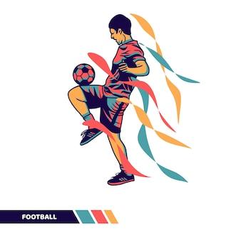 Ilustração vetorial jogador de futebol jogando bola fazendo malabarismo com arte vetorial de cores em movimento
