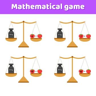 Ilustração vetorial jogo de matemática para crianças em idade escolar e pré-escolar. balanças e pesos. adição. tomates de legumes.