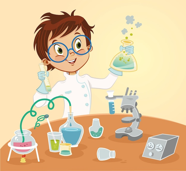 Ilustração vetorial jovem cientista personagem de desenho animado
